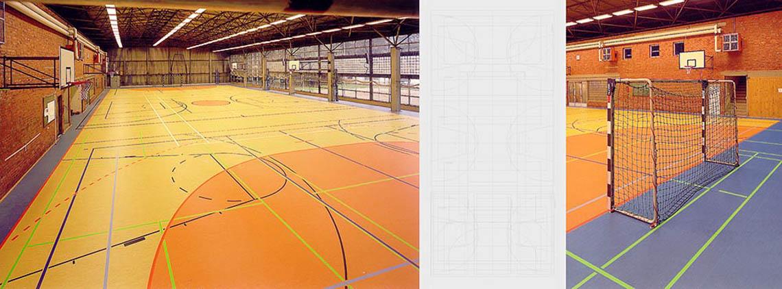 2001 sanierung sportboden sporthalle falkenburg bauhaus for Innenarchitektur weimar